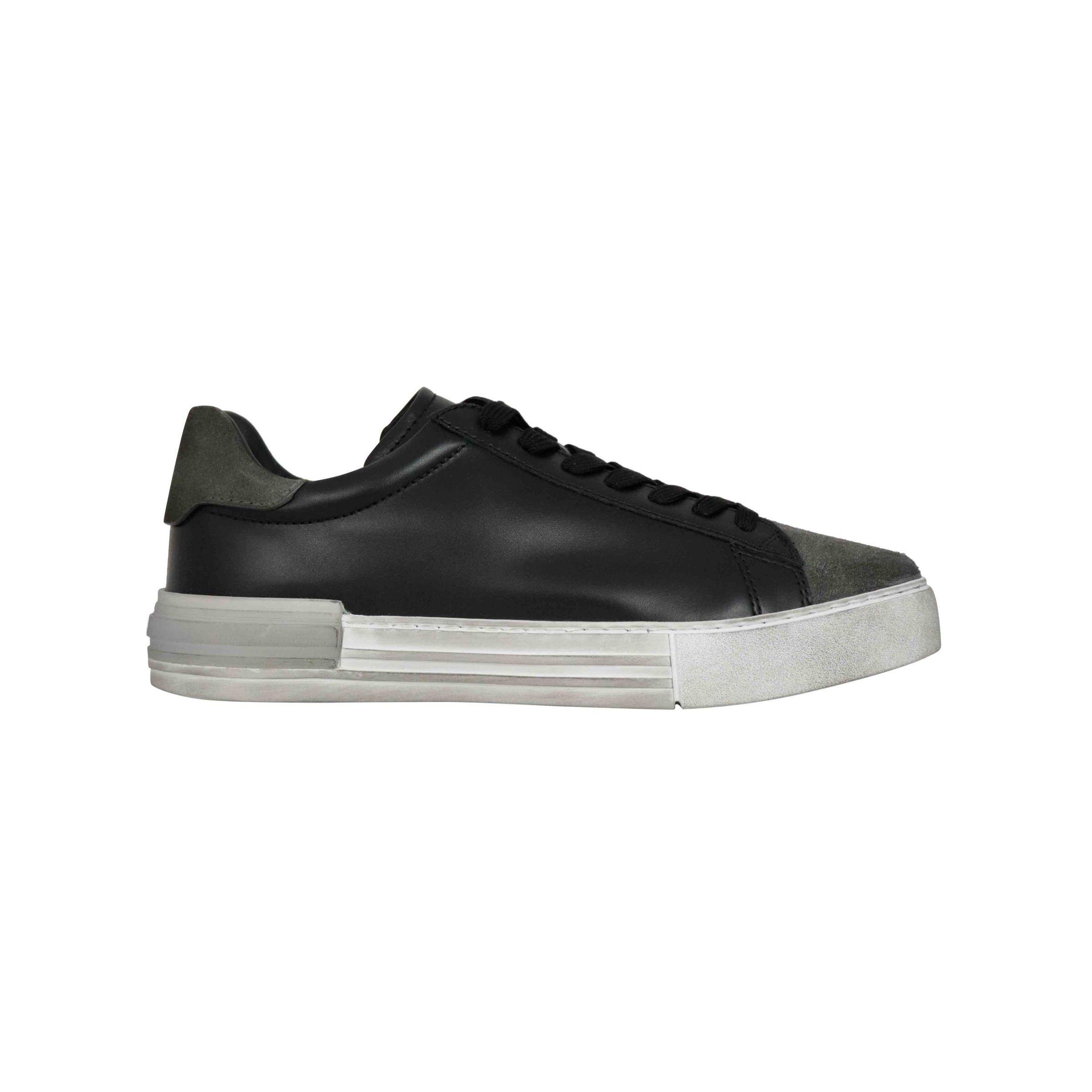 Sneakers Hogan Rebel in pelle effetto vintage Nero/grigio ...