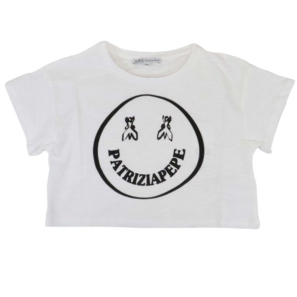 1. Patrizia Pepe cotton cropped T-shirt with smile print White Patrizia Pepe