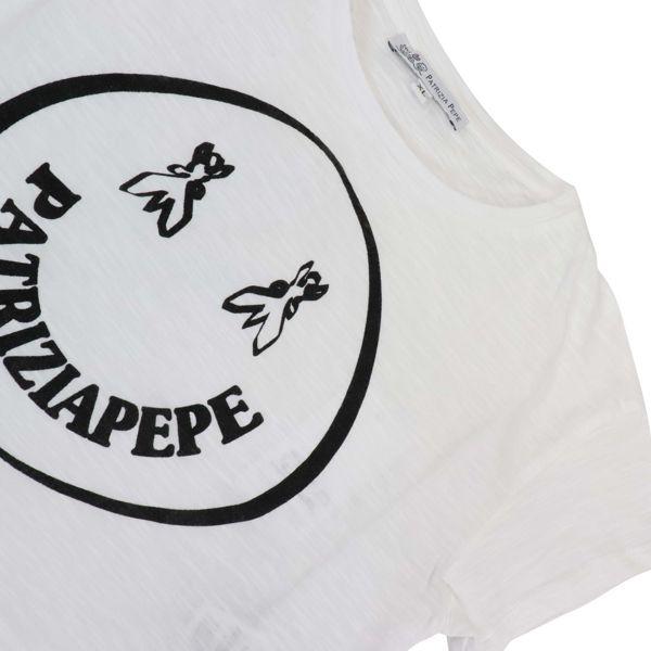 2. Patrizia Pepe cotton cropped T-shirt with smile print White Patrizia Pepe
