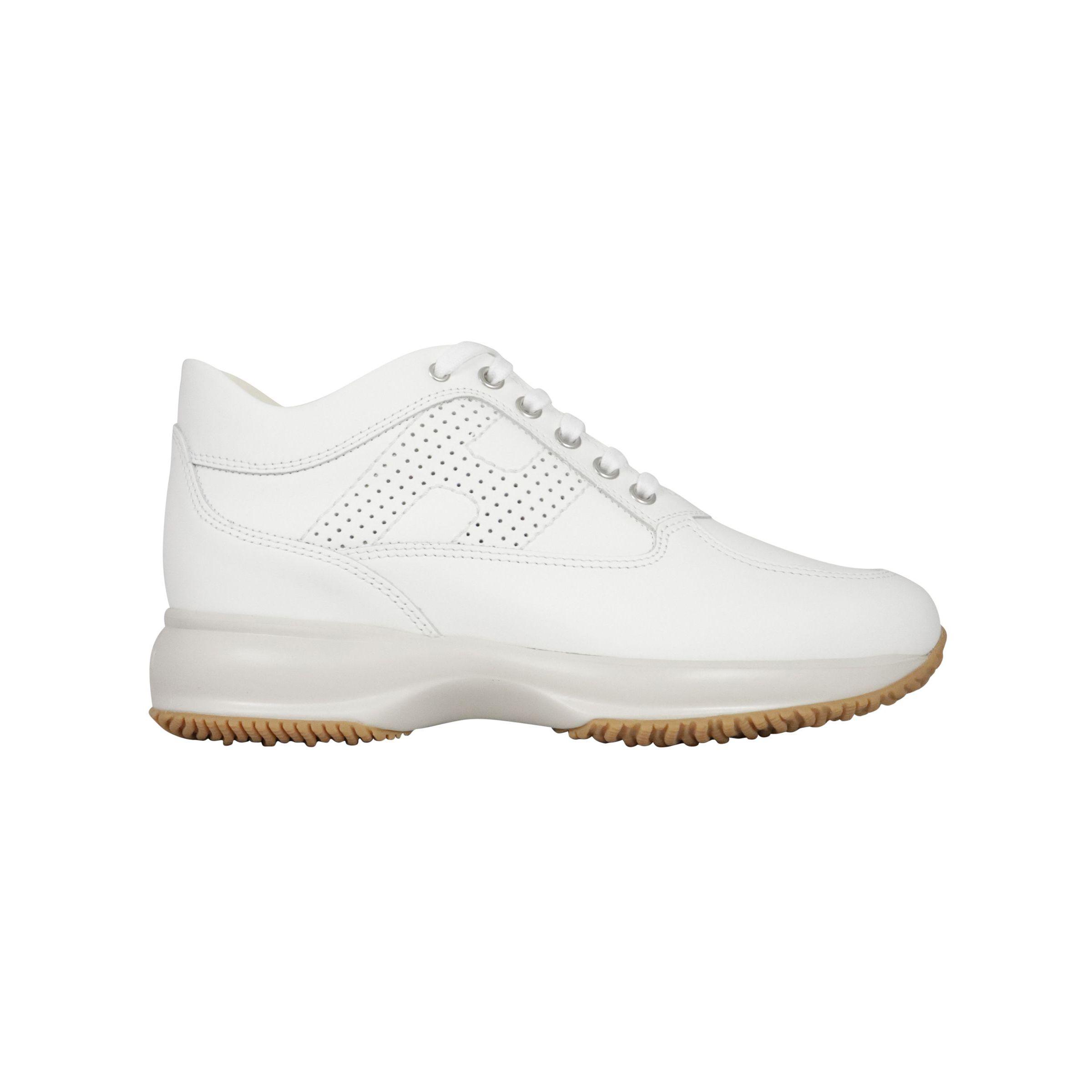 Sneakers Hogan Interactive in pelle con H forata Bianco ...