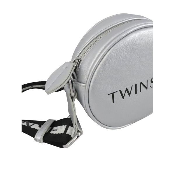 2. Round Twin-Set bag in synthetic leather Silver Twin-Set