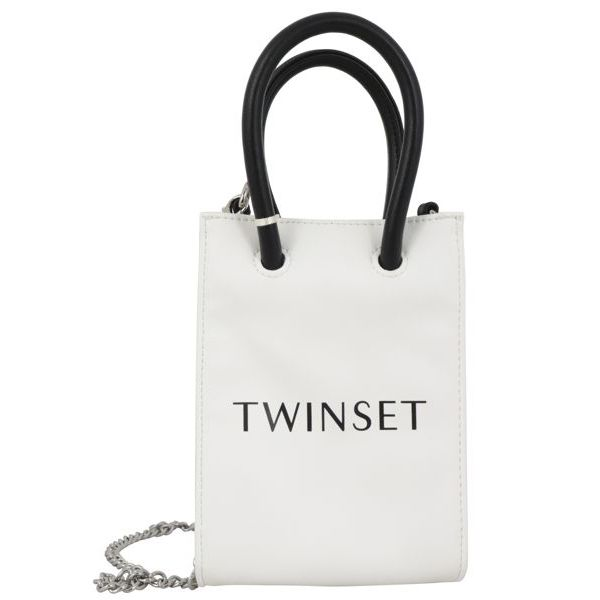 1. Twin-Set handbag in synthetic leather with handles and contrasting logo Optical white Twin-Set