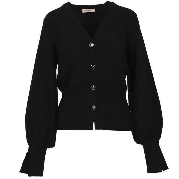 1. Twin-Set cardigan in viscose knit with logoed buttons Black Twin-Set