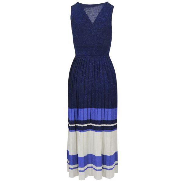3. Twin-Set dress in lurex viscose jersey White / blue Twin-Set