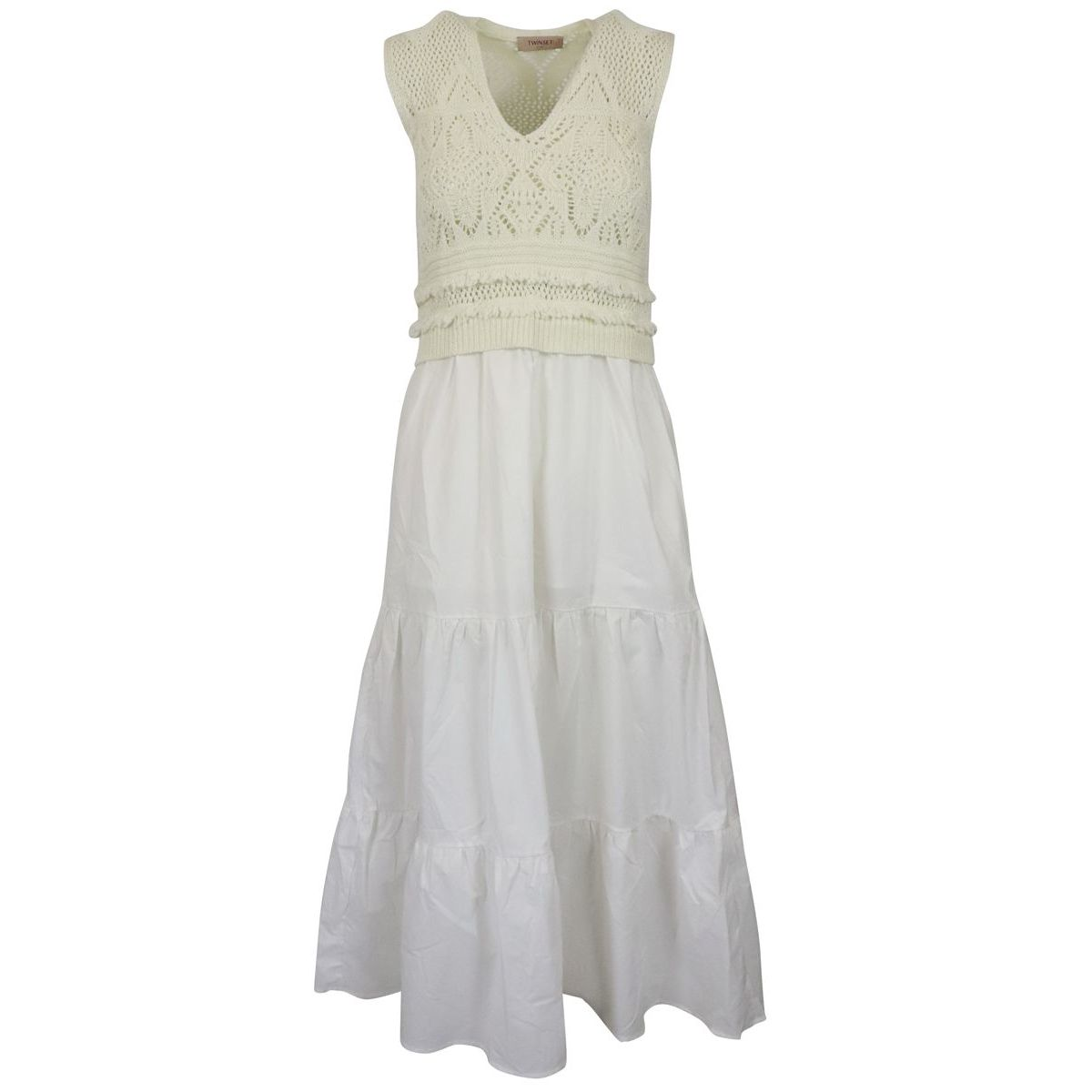 1. Twin-Set dress in cotton with knitted bodice White Twin-Set