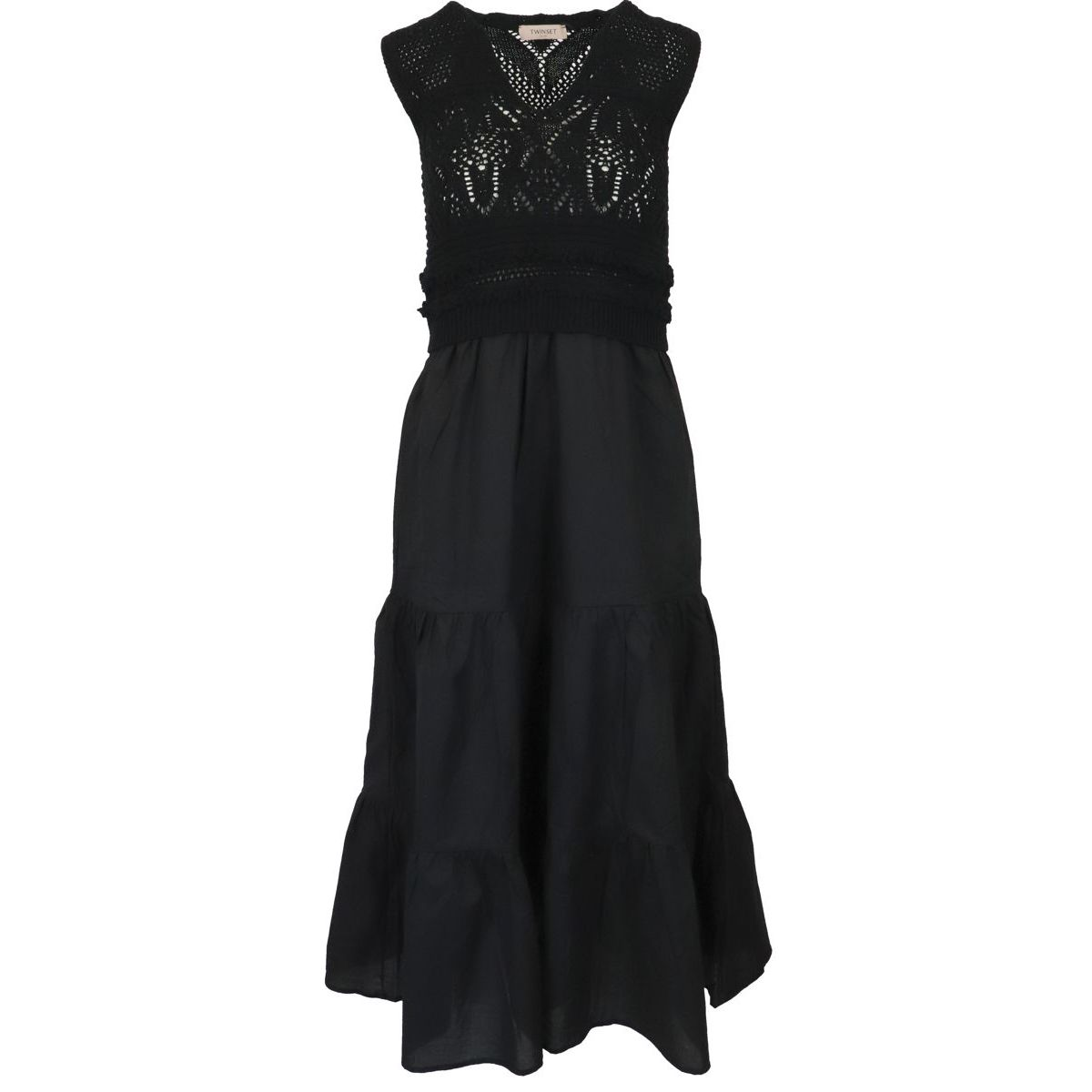 1. Twin-Set dress in cotton with knitted bodice Black Twin-Set