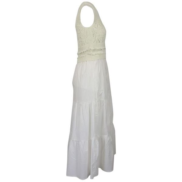 2. Twin-Set dress in cotton with knitted bodice White Twin-Set