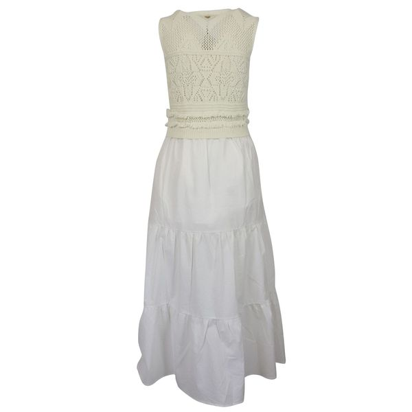 3. Twin-Set dress in cotton with knitted bodice White Twin-Set
