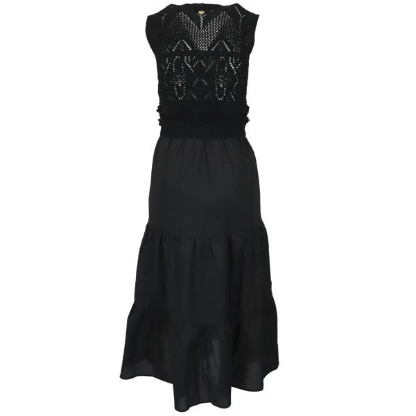 3. Twin-Set dress in cotton with knitted bodice Black Twin-Set