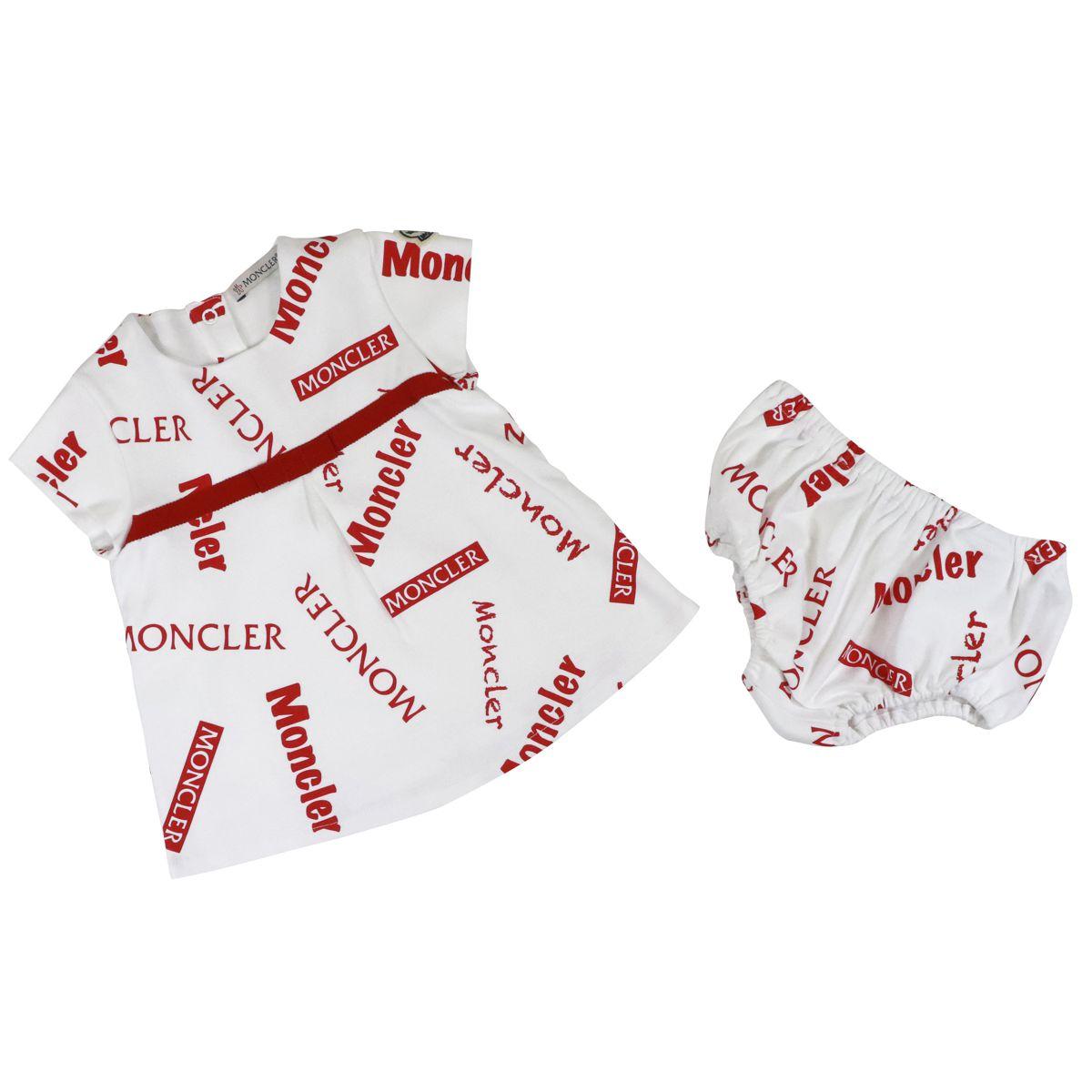 1. Robe courte Moncler avec couvre-couche en coton imprimé logo Blanc rouge Moncler