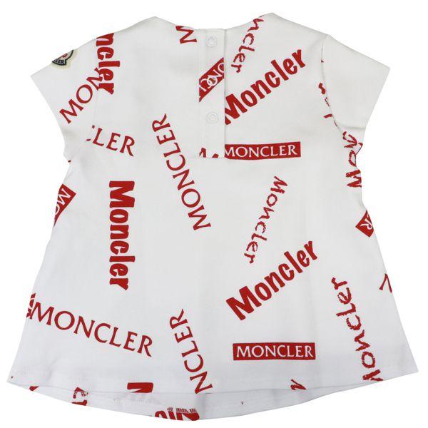 2. Robe courte Moncler avec couvre-couche en coton imprimé logo Blanc rouge Moncler