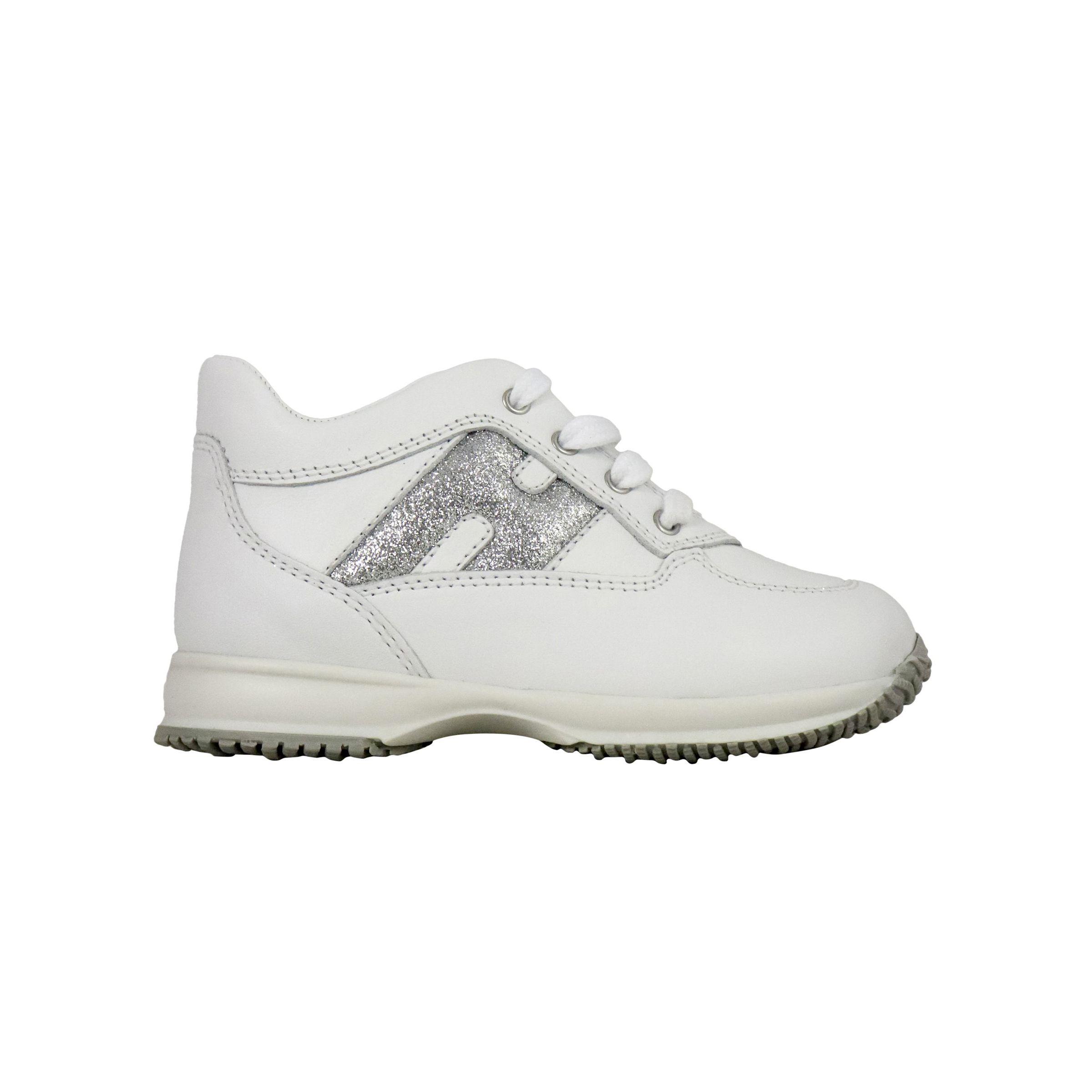 Sneakers Hogan Interactive in pelle con H glitter e zip Bianco ...