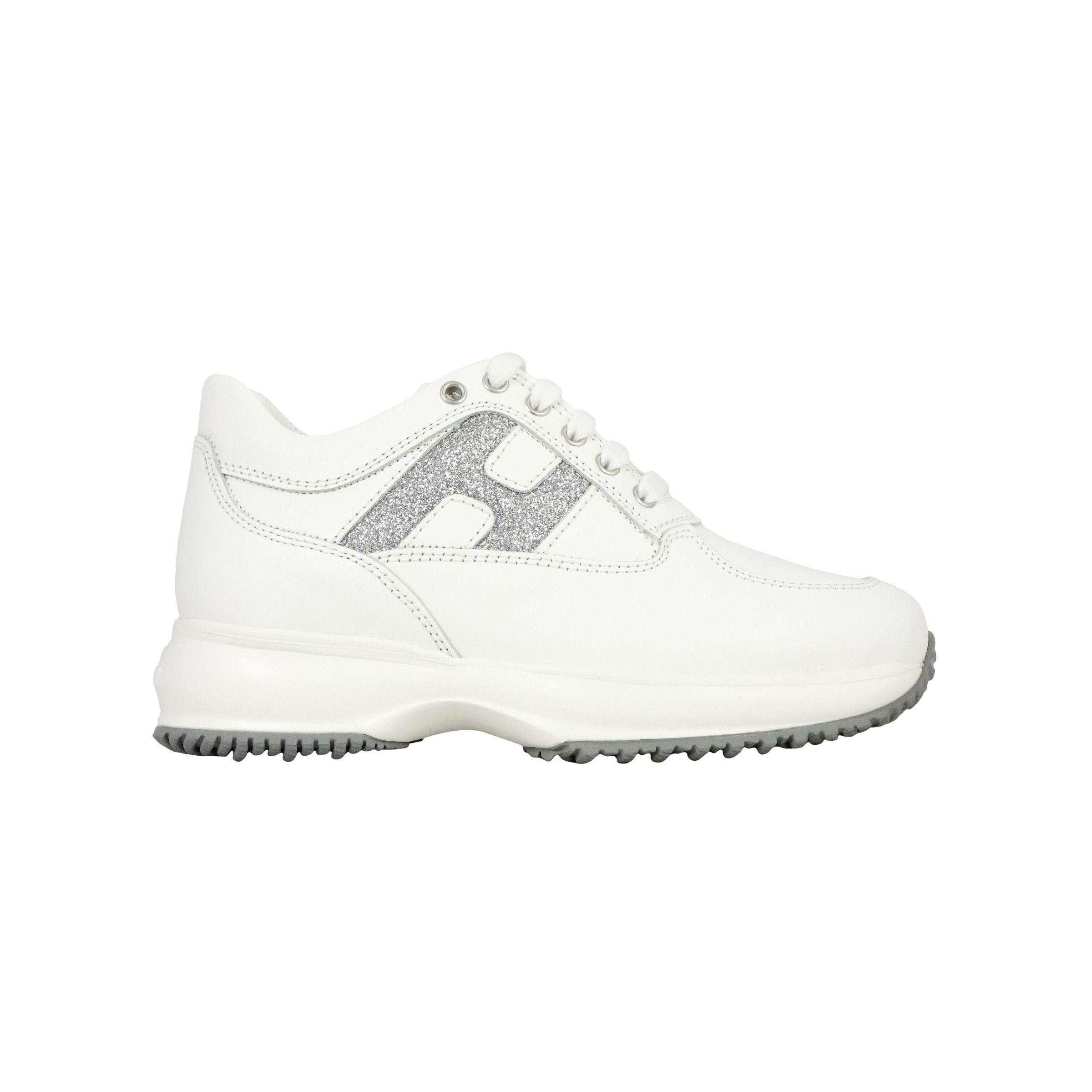 Sneakers Hogan Interactive in pelle con H glitter Bianco/argento ...