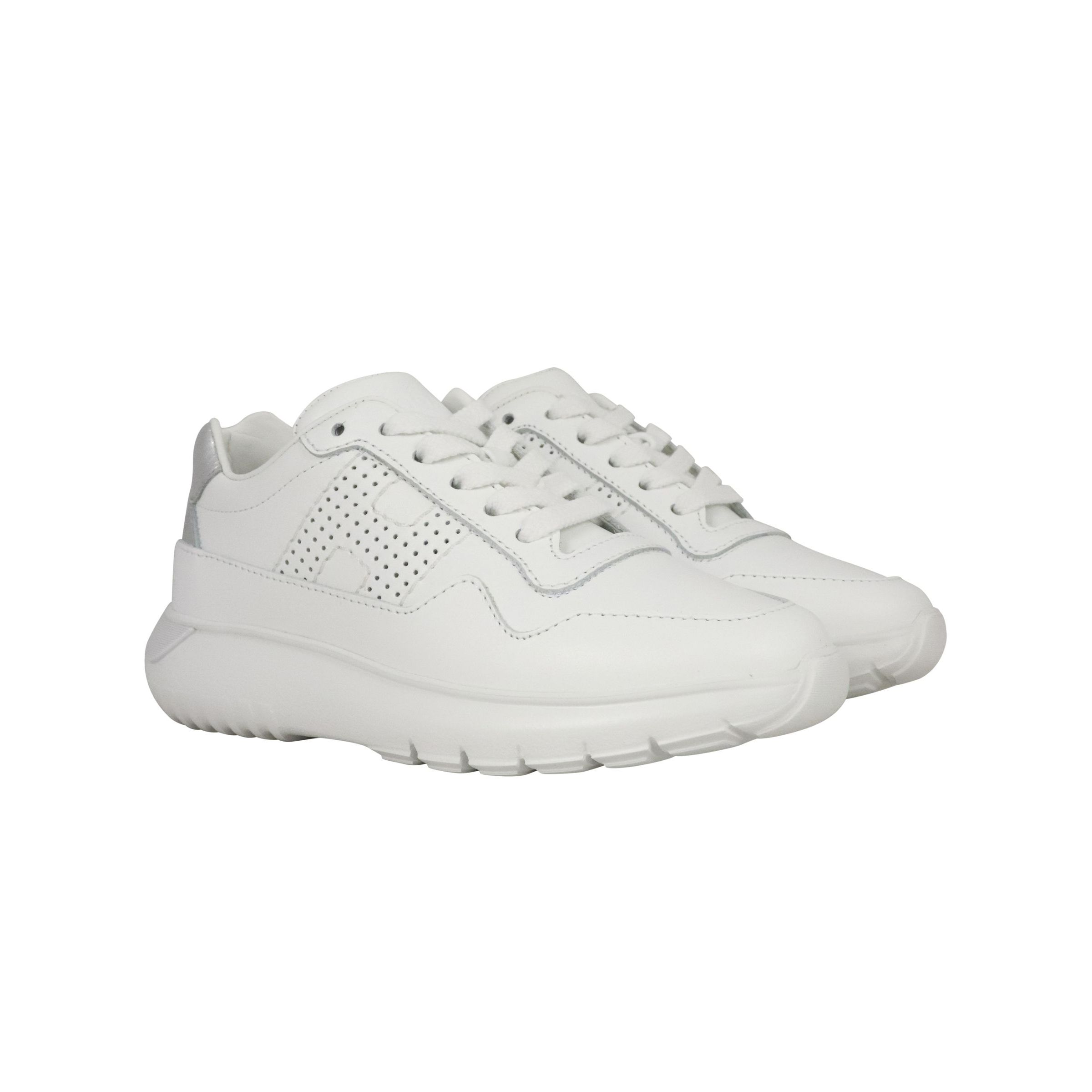Hogan Interactive3 sneakers in leather with lamé back heel White ...