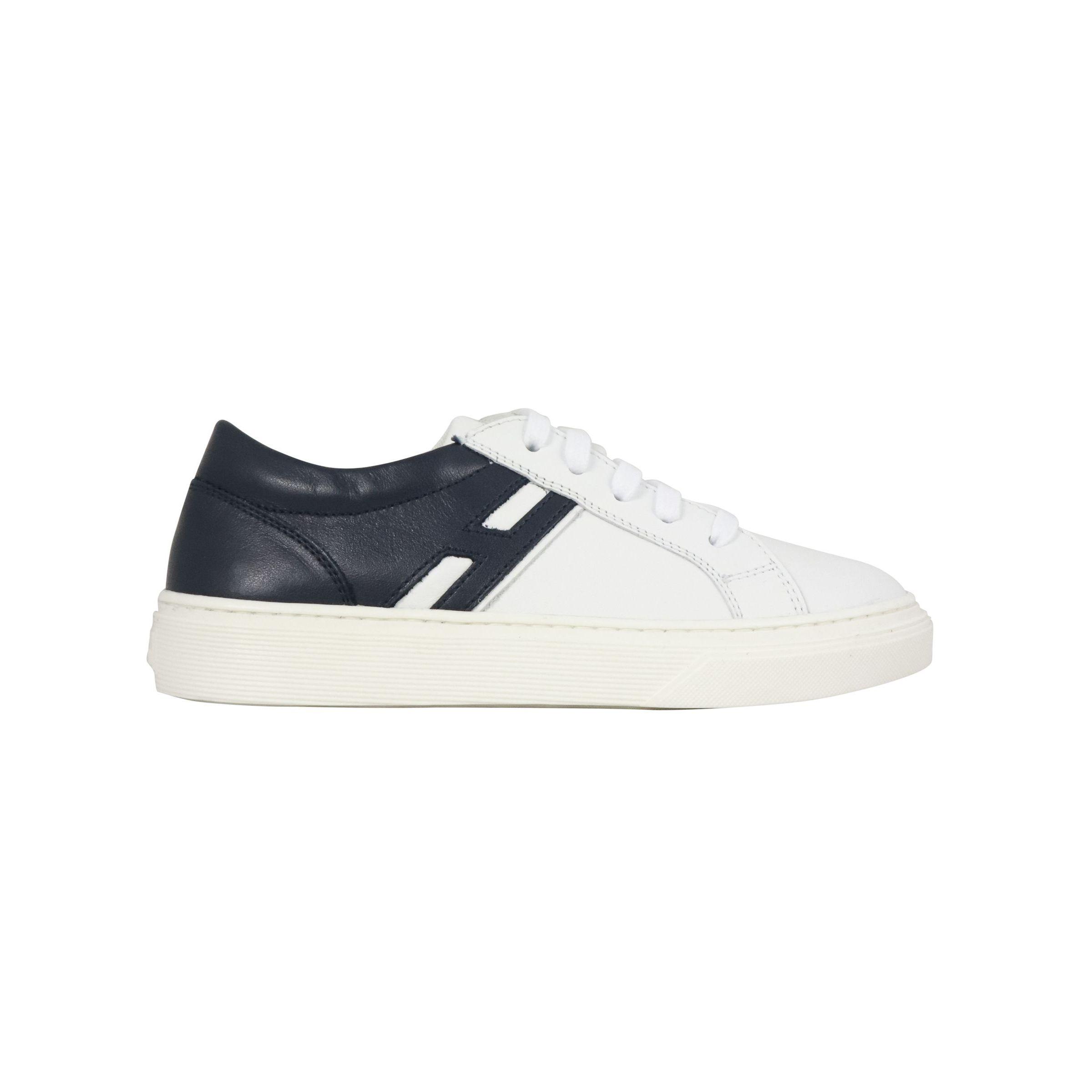 Sneakers Hogan in pelle bicolore con fondo cassetta Blu/bianco ...