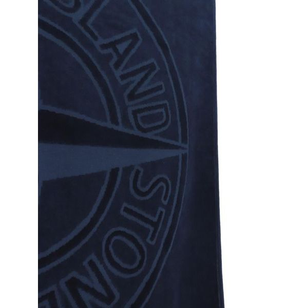 2. Stone Island beach towel in cotton with embossed logo Blue Stone Island Junior
