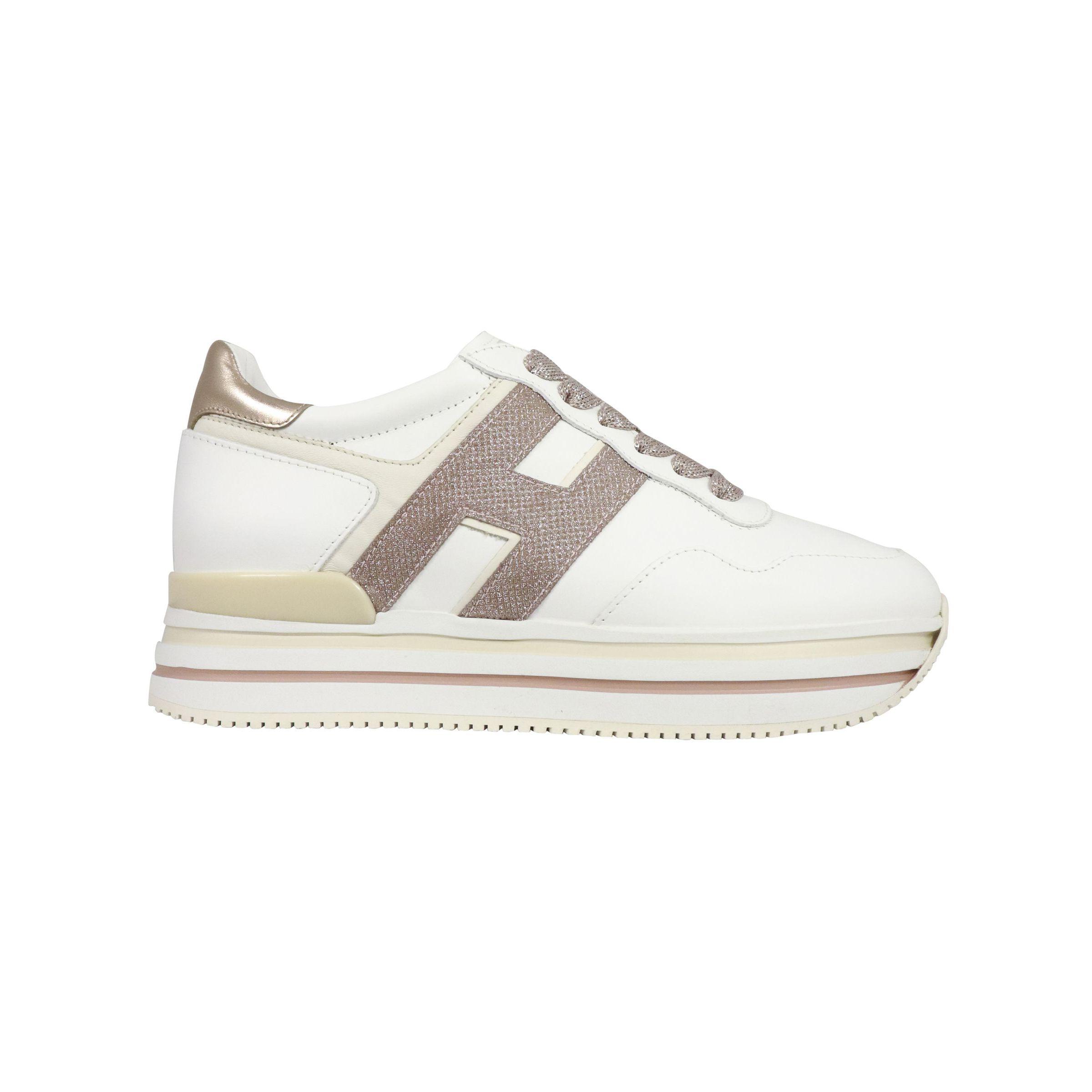 Sneakers Hogan in pelle con fondo 483 Bianco/oro rosa ...