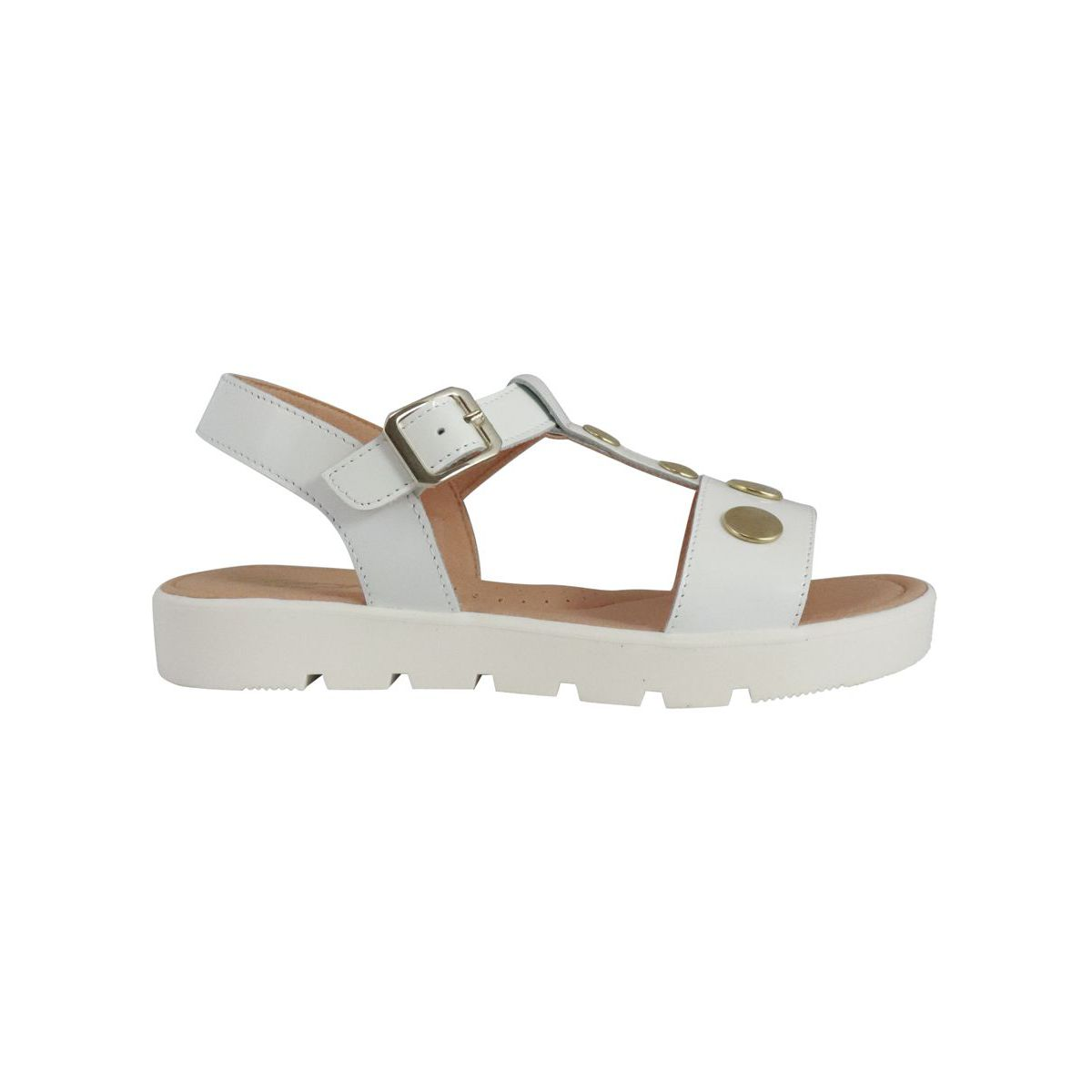1. Clarys sandal in leather with golden studs White Clarys