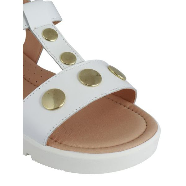 3. Clarys sandal in leather with golden studs White Clarys