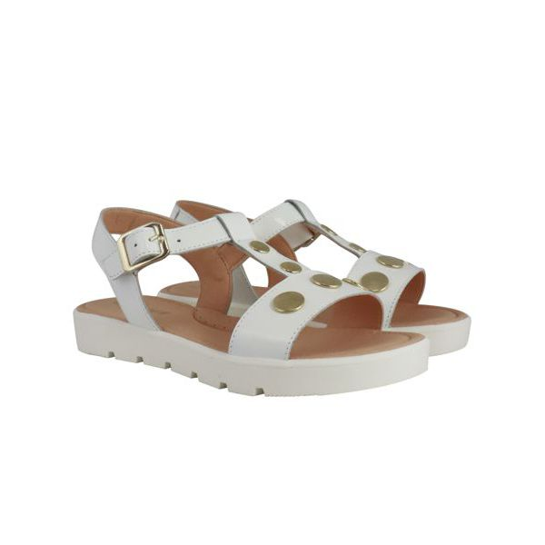 4. Clarys sandal in leather with golden studs White Clarys