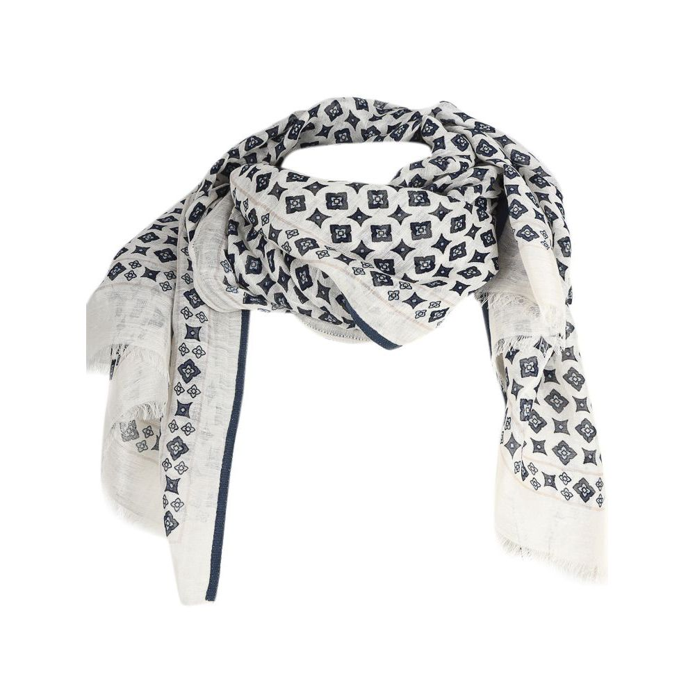 1. Altea scarf in cotton with micro pattern White Altea