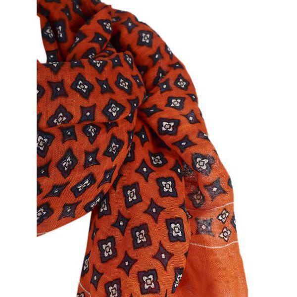 2. Altea scarf in cotton with micro pattern Orange Altea