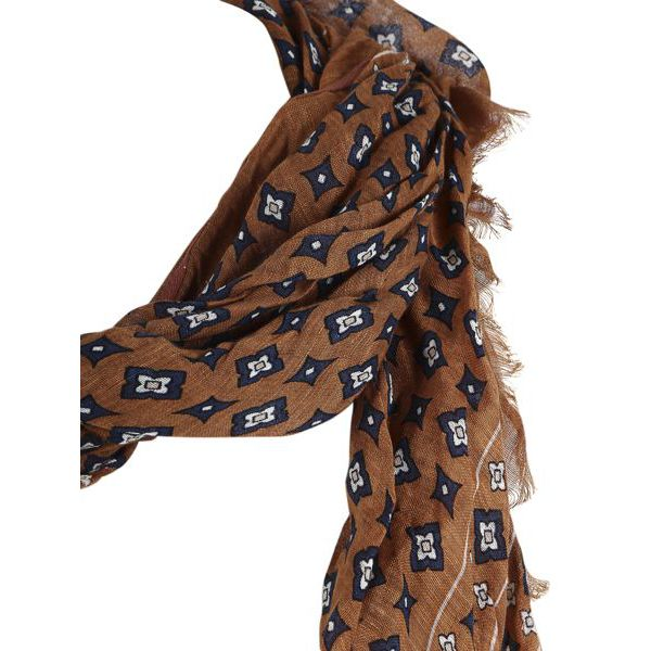 2. Altea scarf in cotton with micro pattern Camel Altea