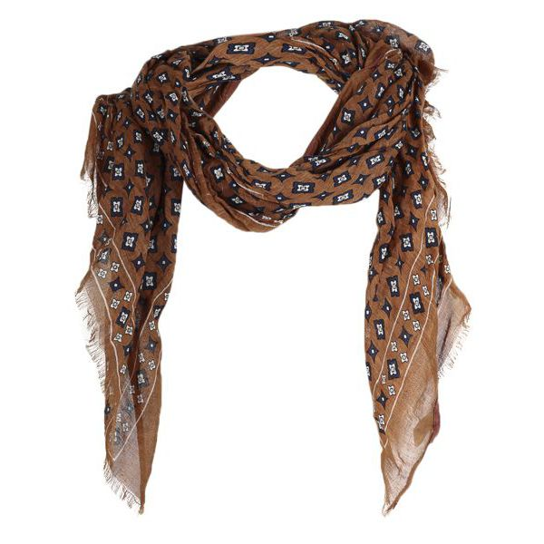 1. Altea scarf in cotton with micro pattern Camel Altea