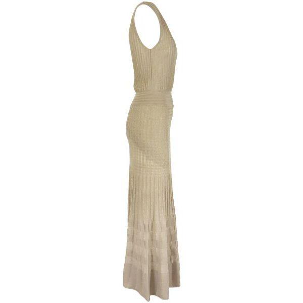 2. Pinko Cronometro longuette dress in stretch lurex cotton Beige Pinko