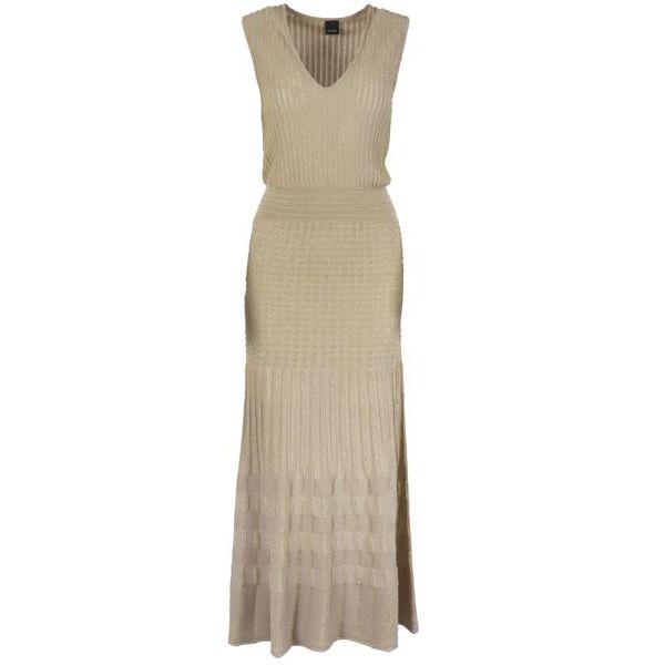 1. Pinko Cronometro longuette dress in stretch lurex cotton Beige Pinko