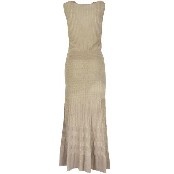 3. Pinko Cronometro longuette dress in stretch lurex cotton Beige Pinko