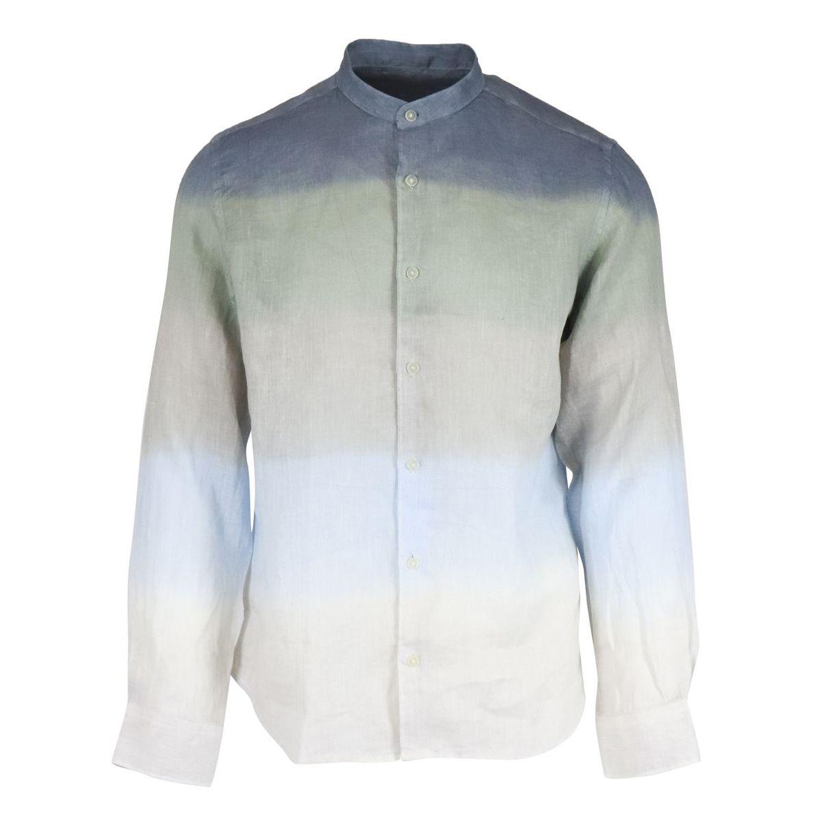 1. Altea linen shirt with guru collar with shaded stripes Blue Altea