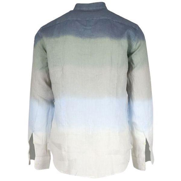 3. Altea linen shirt with guru collar with shaded stripes Blue Altea