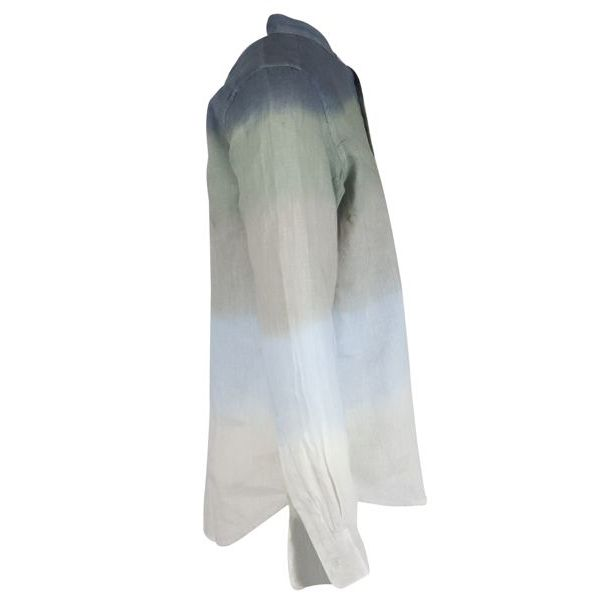 2. Altea linen shirt with guru collar with shaded stripes Blue Altea