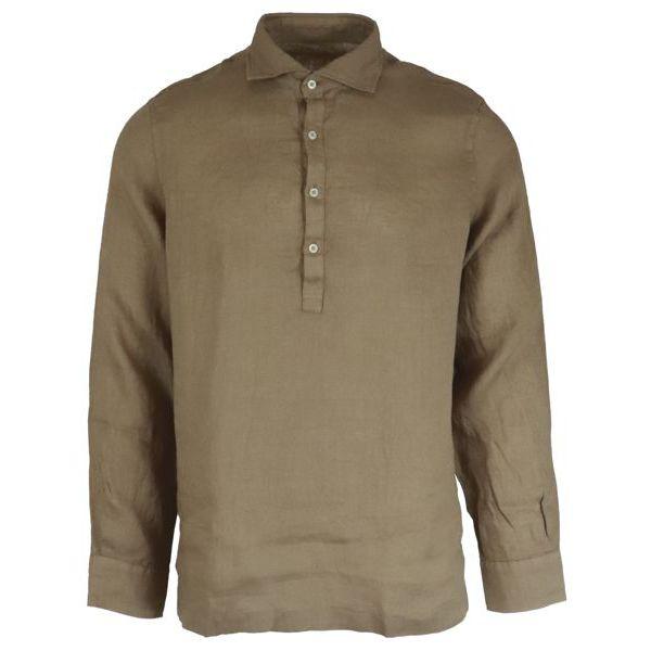 1. Altea long-sleeved linen polo shirt Camel Altea