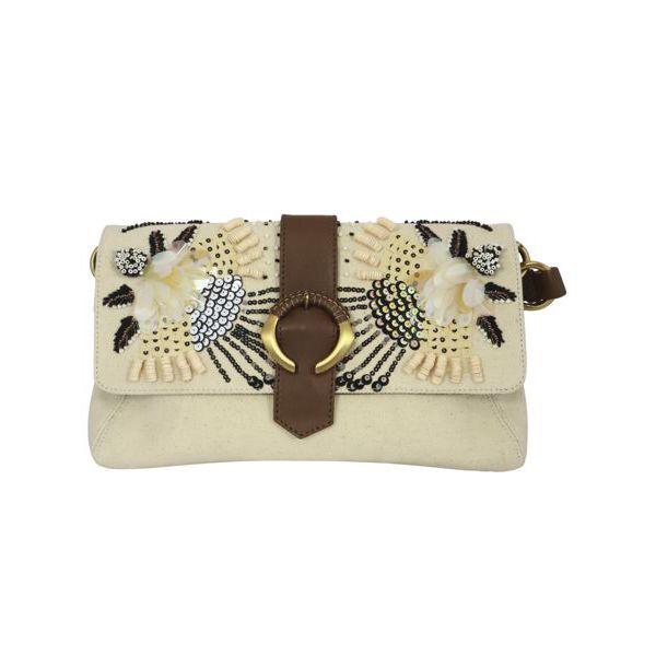 1. Maliparmi medium shoulder bag in canvas with flap Natural black Maliparmi