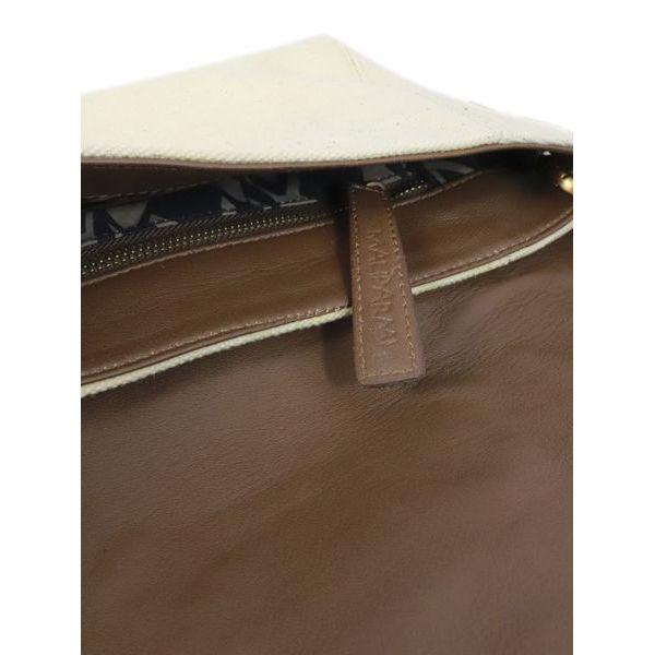5. Maliparmi medium shoulder bag in canvas with flap Natural black Maliparmi