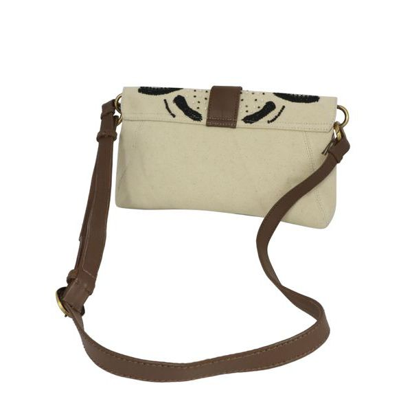 4. Maliparmi medium shoulder bag in canvas with flap Natural black Maliparmi