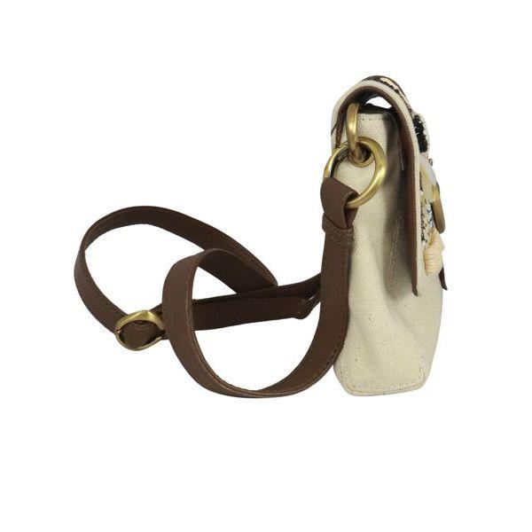 3. Maliparmi medium shoulder bag in canvas with flap Natural black Maliparmi