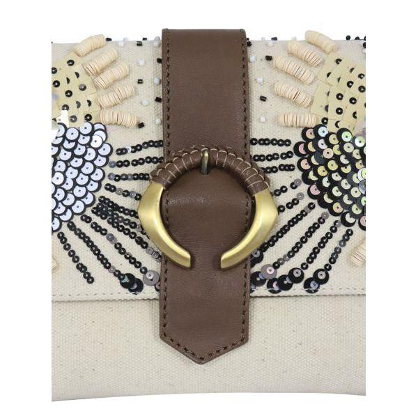 2. Maliparmi medium shoulder bag in canvas with flap Natural black Maliparmi