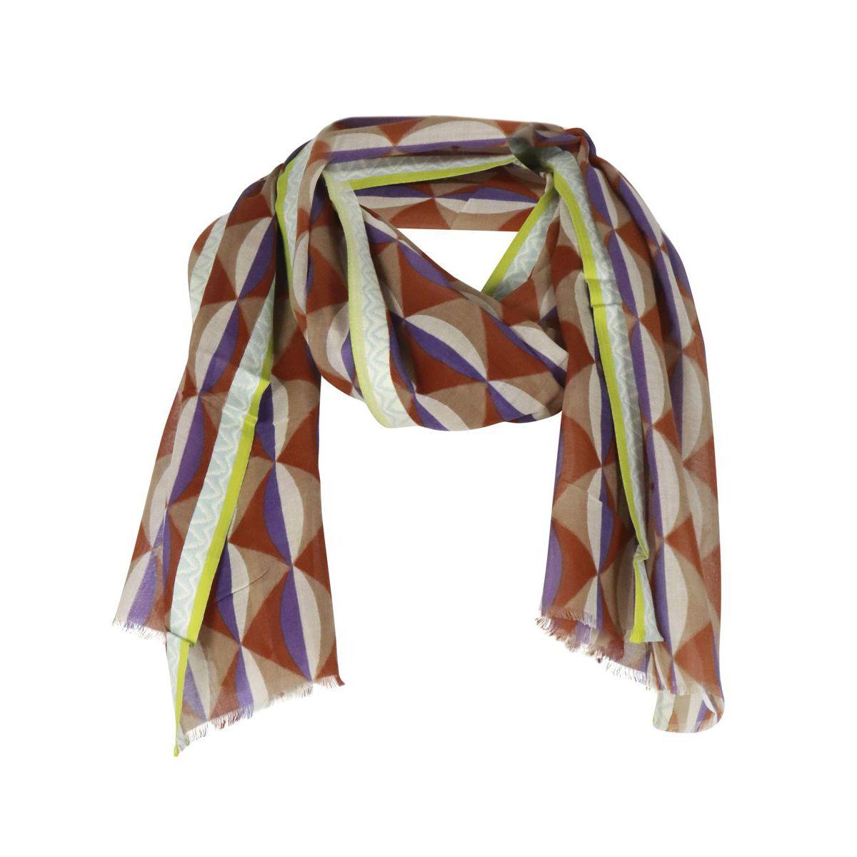 1. Maliparmi Liberty scarf with geometric print Mauve Maliparmi