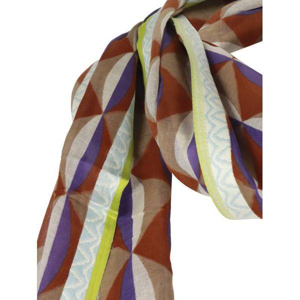 2. Maliparmi Liberty scarf with geometric print Mauve Maliparmi