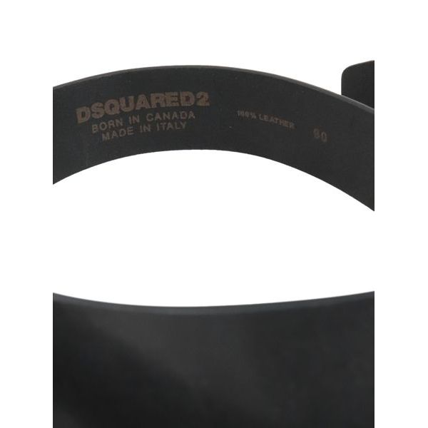 3. Ceinture en cuir Dsquared2 avec plaque logo Noir Dsquared2