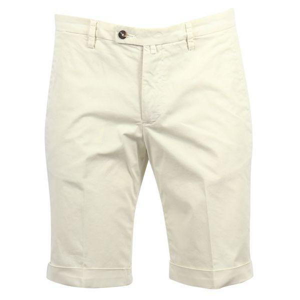 1. Bridle Bermuda shorts in cotton with turn-up Cream Briglia