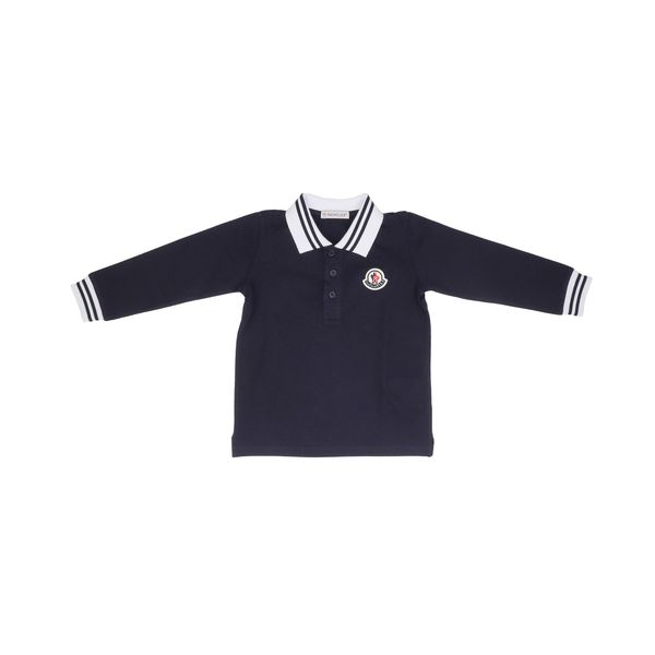 1. Moncler long-sleeved cotton polo shirt Blue Moncler