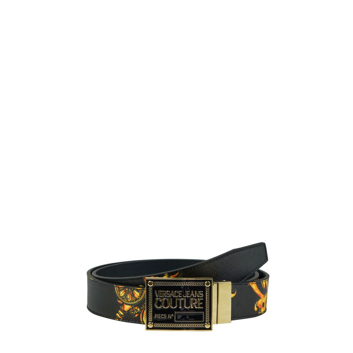 1. Versace Jeans Couture belt in baroque patterned saffiano Black Versace Jeans Couture