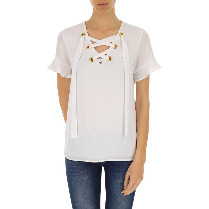 BLUSA CRISS CROSS Bianco Michael Kors