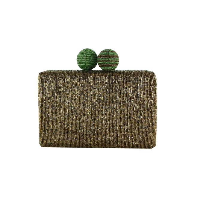 CLUTCH CUTS & BEADS Oro/verde Maliparmi