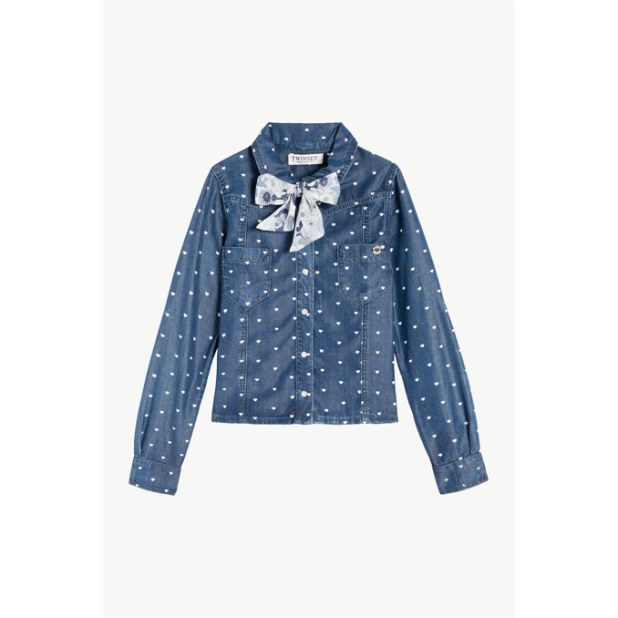 CAMICIA STAMPA CUORI Denim Twin-Set