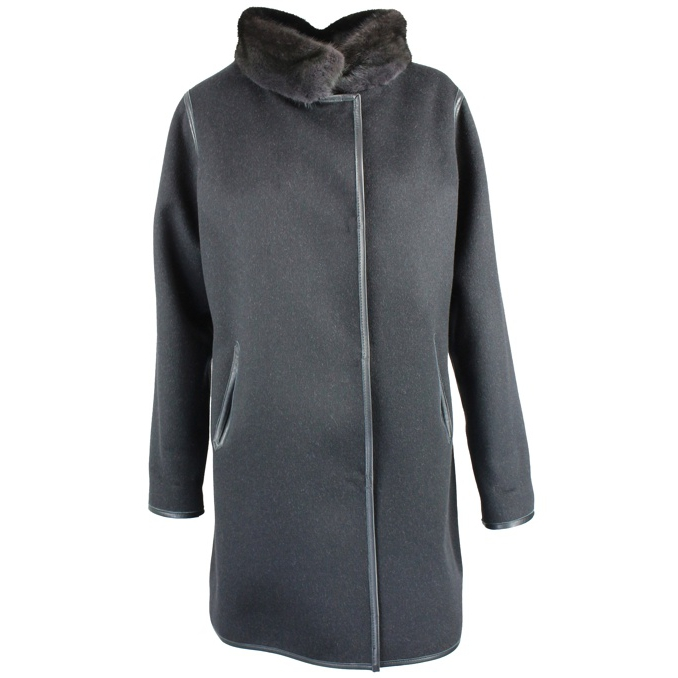 CAPPOTTO COLLO VISONE REVERSIBILE Nero Marester